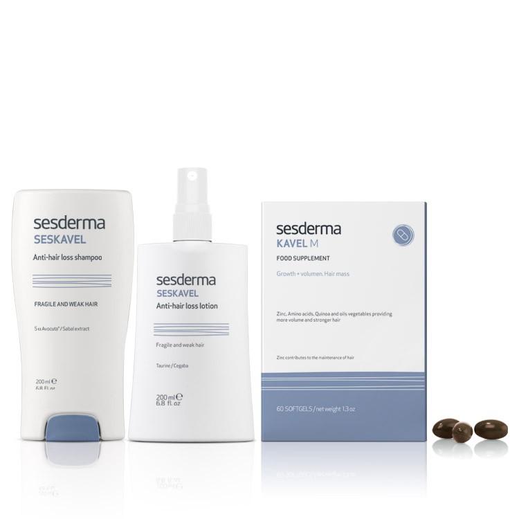 SESKAVEL - Набор от выпадения волос (Шампунь + Лосьон + 2 упаковки БАД)