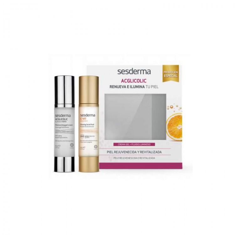 ПРОМОНАБОР ACGLICOLIC Classic Forte - Крем-гель, 50 мл + C-VIT - Флюид для сияния кожи, 50 мл